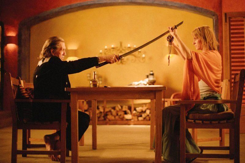Uma Thurman, Beatrix Kiddo, David Carradine, Bill, Quentin Tarantino, Kill Bill, Vol 1, Vol 2, katana